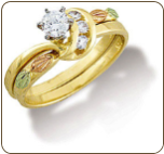 Q. Ladies Black Hills Gold Wedding Set with Engagement Ring (SKU: WR841SD)