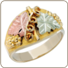 Ladies Classic Black Hills Gold Ring with Large Leaves (SKU: C217)