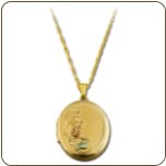 Black Hills Gold Locket with Flowers and Leaves (SKU: PE665)