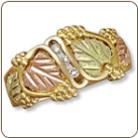 mens black hills gold wedding band with large leaves and diamonds sku
