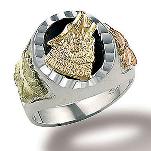 Landstroms Sterling Silver Mens Onyx Wolf Ring Gold Leaves 02403SS