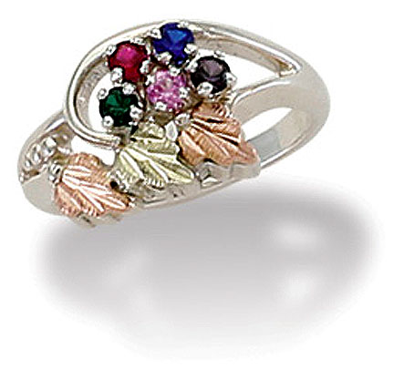 Silver Black Hills Gold Mothers Ring