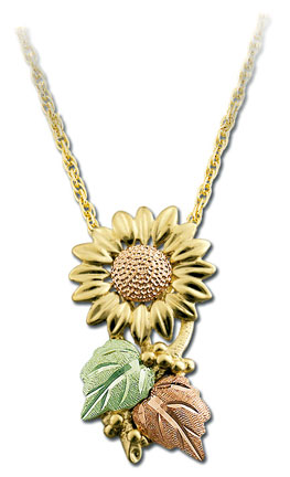 Landstroms Black Hills Gold Sunflower Necklace - G LPE411