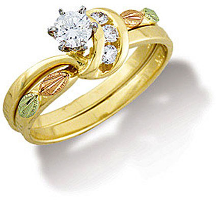 black hills gold diamond wedding set engagement ring wr841sd