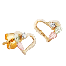 Black Hills Gold Heart Earrings with Black Hills Gold Leaves and Diamond
