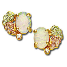 Black Hills Gold Opal Earrings with Opal and Diamond