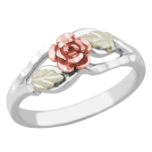 Sterling Silver Ladies Ring with Rose