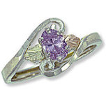 Sterling Silver Ladies Ring with Black Hills Gold Leaves and Birthstone