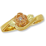 Ladies Black Hills Gold Rose Diamond Ring with Leaves