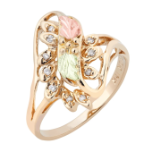 Ladies Black Hills Gold Right Hand Ring with Multiple Diamonds