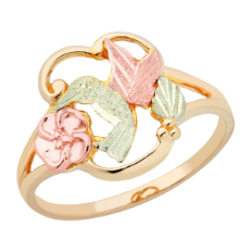 Black Hills Gold Ladies Hummingbird Ring with Black Hills Gold Leaves