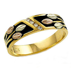 X. Mens or Ladies UNISEX Ring or Wedding Band with Black Hills Gold Leaves and Diamonds