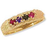 Black Hills Gold Mothers Ring with Birthstones
