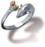 Sterling Silver Dolphin Toe Ring with Black Hills Gold Leaves