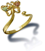 Black Hills Gold Adjustable Butterfly Toe Ring with Leaves
