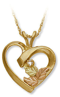 Black Hills Gold Diamond Heart Pendant