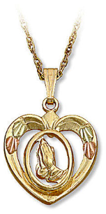 Praying Hands in Heart Pendant, in Black Hills Gold