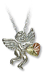 Sterling Silver Angel Pendant with Black Hills Gold Heart