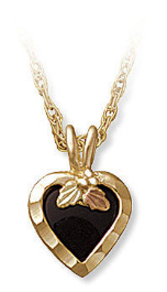 Black Hills Gold Necklace with Onyx Heart Pendant