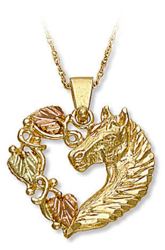 Black Hills Gold Pendant with Horse's Head and Heart