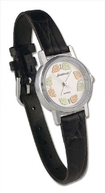 Ladies Landstroms Sterling Silver Watch with Black Hills Gold Leaves