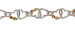 Sterling Silver Bracelet with Dual Hearts and Black Hills Gold Leaves