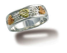 J. Sterling Silver Men's or Ladies UNISEX Band with Black Hills Gold Leaves
