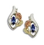 Sterling Black Hills Silver Tanzanite Earrings