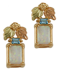 Black Hills Gold Opal Earrings with Swiss Blue Topaz