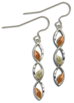 Sterling Silver Tiered Earrings with Black Hills Gold Leaves