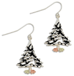 Sterling Silver Christmas Tree Earrings with Black Hills Gold Leaves
