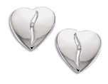 BB. Sterling Silver Diamond Heart Earrings