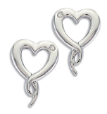 DD. Sterling Silver Diamond Heart Earrings