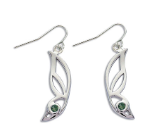 Sterling Silver Butterfly Wing Earrings with Green Montana Sapphire