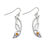 Sterling Silver Butterfly Wing Earrings with Yellow Montana Sapphire
