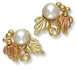 Black Hills Gold Pearl Earrings for Pierced Ears