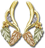 Black Hills Gold Earrings with Leaves and Diamond