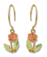 Black Hills Gold Prairie Rose Earrings with Leaves