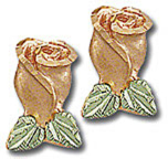 Black Hills Gold Rose Earrings in Pink Gold for Pierced Ears