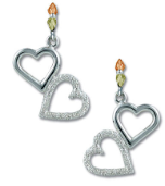 Sterling Silver Dangling Dual Heart Earrings