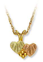 Black Hills Gold Heart Pendant with Double Hearts