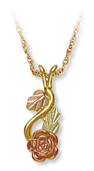 Black Hills Gold Rose Pendant with Leaves