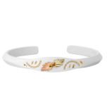 White Powder Coated Cuff Bracelet with Black Hills Gold Leaves