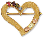 Black Hills Gold Heart Brooch Pin with Birthstones