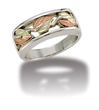 L1. Ladies Sterling Silver Band with European Shank and Black Hills Gold Leaves