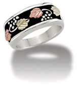 M. Ladies Sterling Silver Band with European Shank and Black Hills Gold Leaves