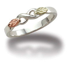 Sterling Silver Ladies Infinity Ring with Black Hills Gold Leaves