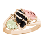 Black Hills Gold Ladies Onyx Ring with Leaves
