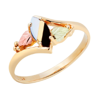 Black Hills Gold Ladies Onyx and Mother of Pearl Ring