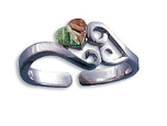 Sterling Silver Adjustable Toe Ring with Heart of Leaves